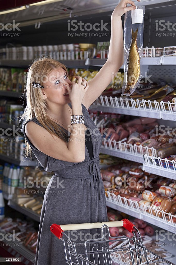 Faugh, what rotten fish in shop royalty-free stock photo