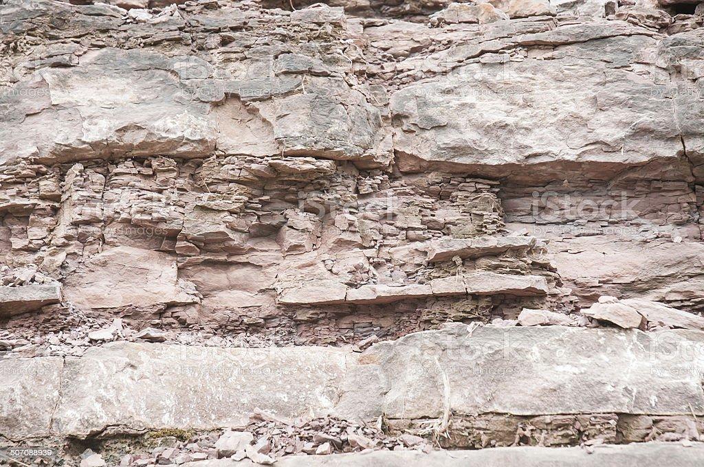 Fault in sandstone strata deformation stock photo