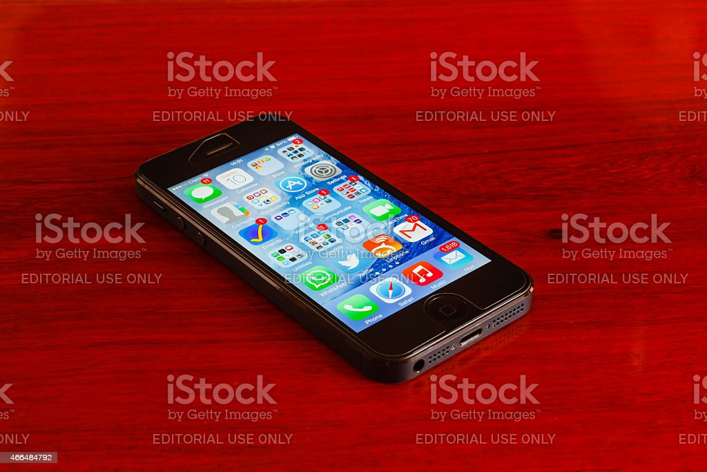 Faulty black iPhone 5 - Modern Technology stock photo