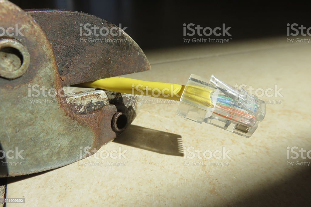 Faulty Internet connection stock photo