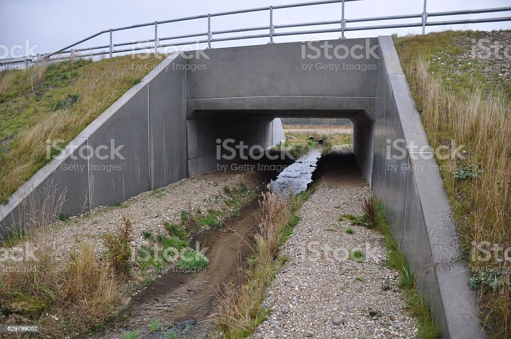 Fauna passage under road in Denmark stock photo