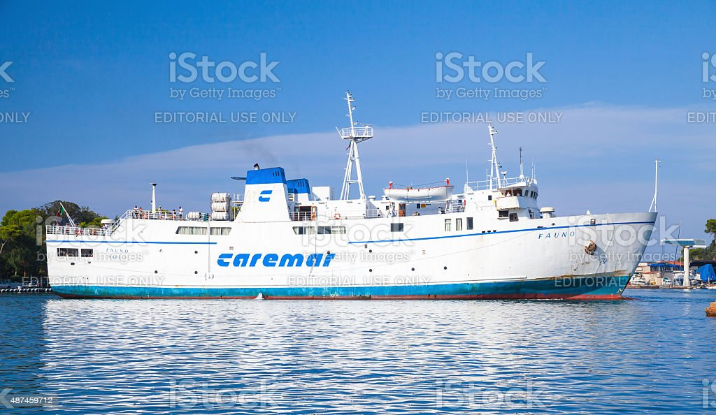 Fauno, white Italian ferry operated by Caremar stock photo