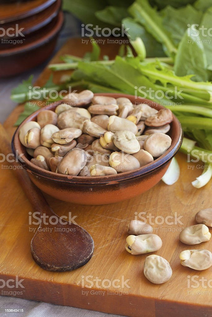 Fava beans and chicory royalty-free stock photo