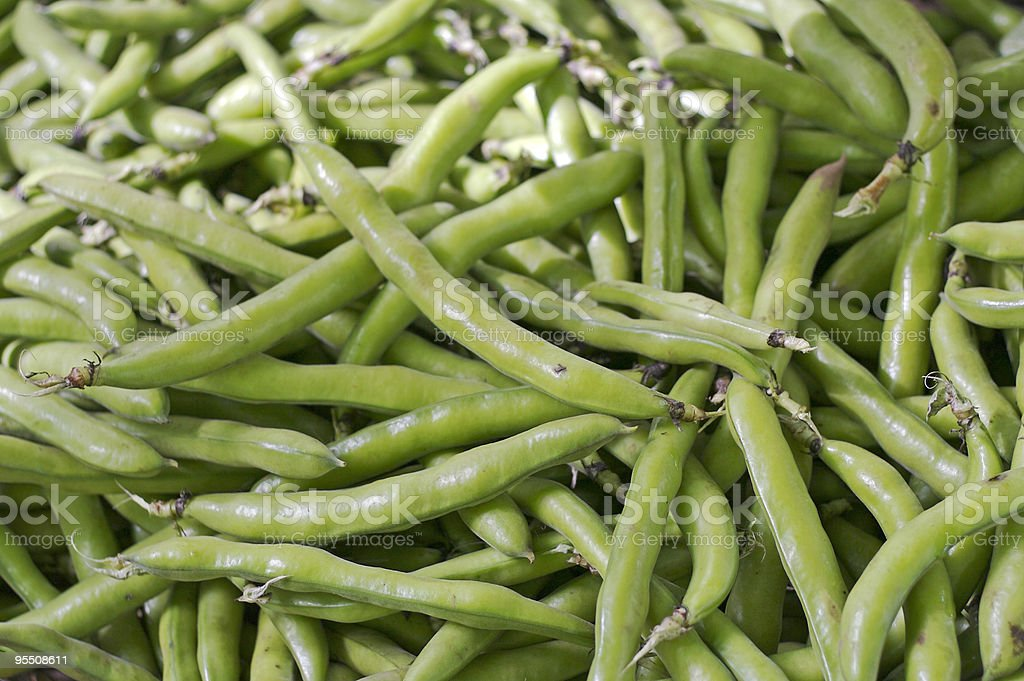 Fava beans at the farmer's market stock photo