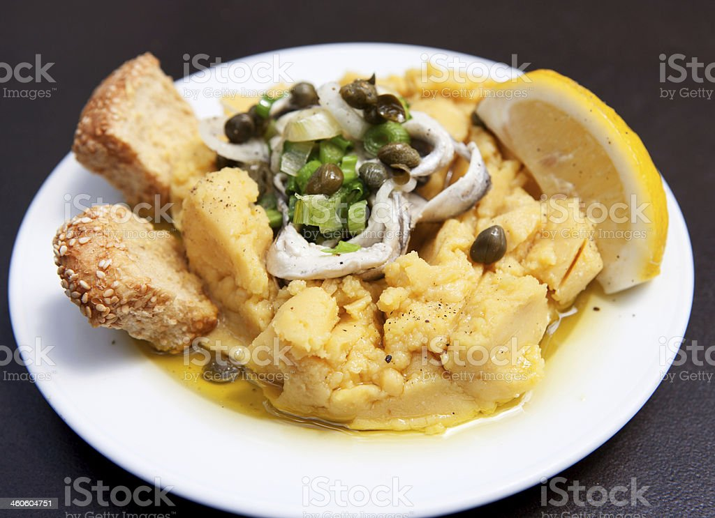 fava beans rusks onions capers lemon and olives b royalty-free stock photo