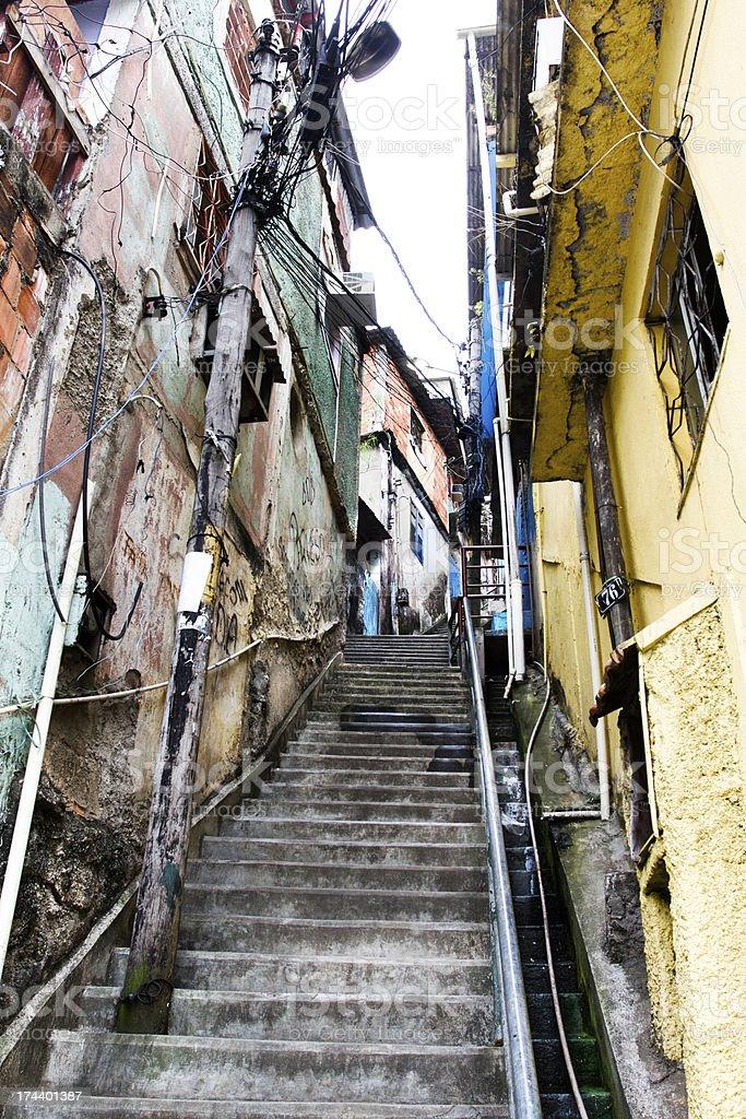 Favela alley in Rio de Janeiro royalty-free stock photo