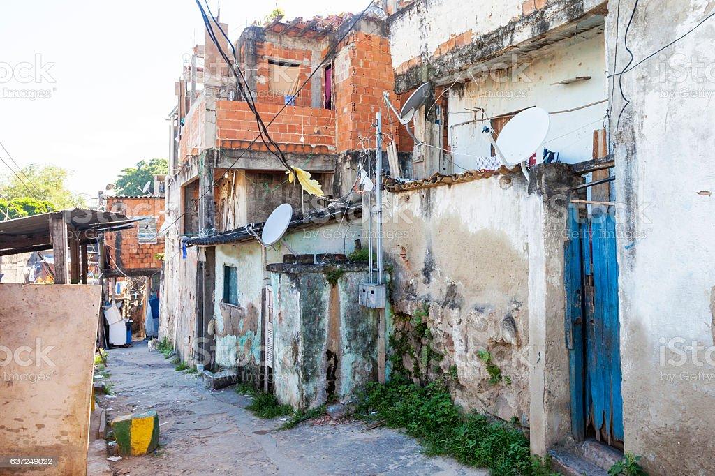 Favela alley in Rio de Janeiro stock photo