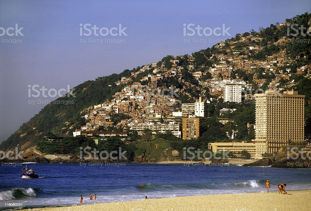 Favela and Leblon Beach stock photo