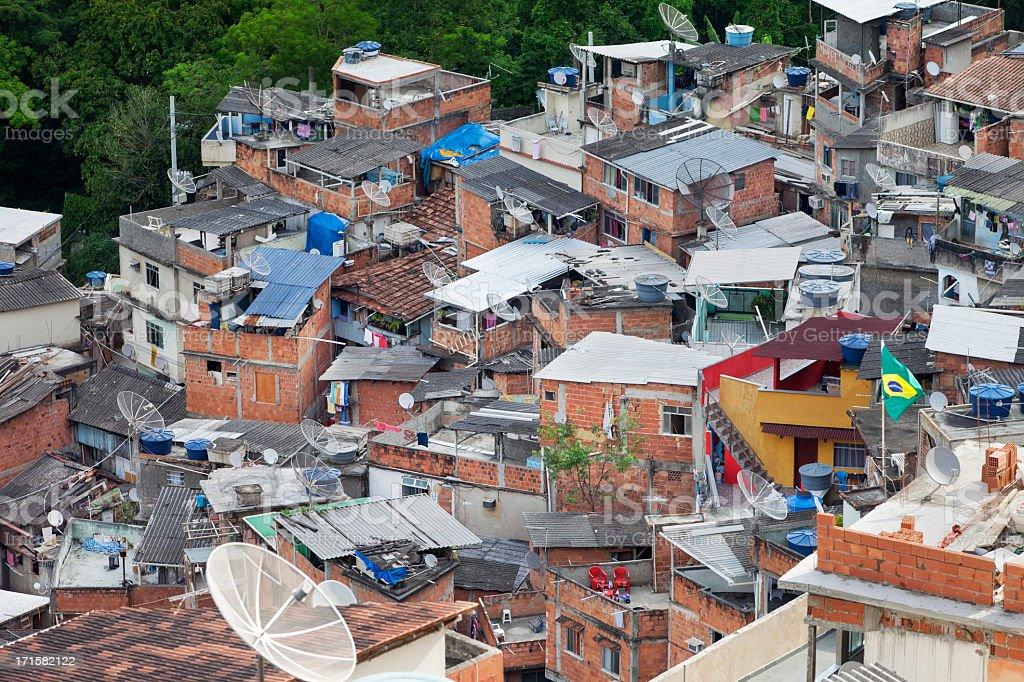 Favela in Rio de Janeiro full of TV antennas royalty-free stock photo