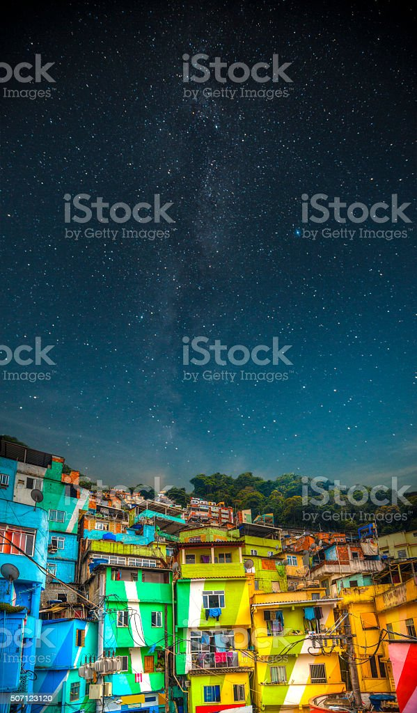 Favela night stock photo