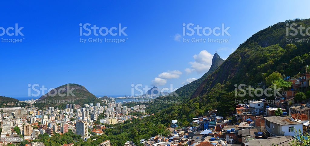 Favela Santa Marta and Christ the Redeemer stock photo