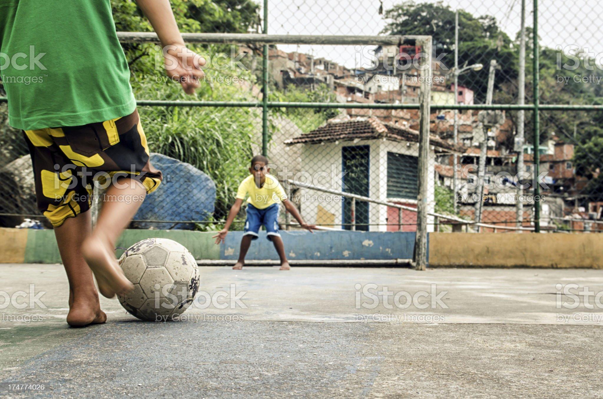 Favela soccer kids royalty-free stock photo