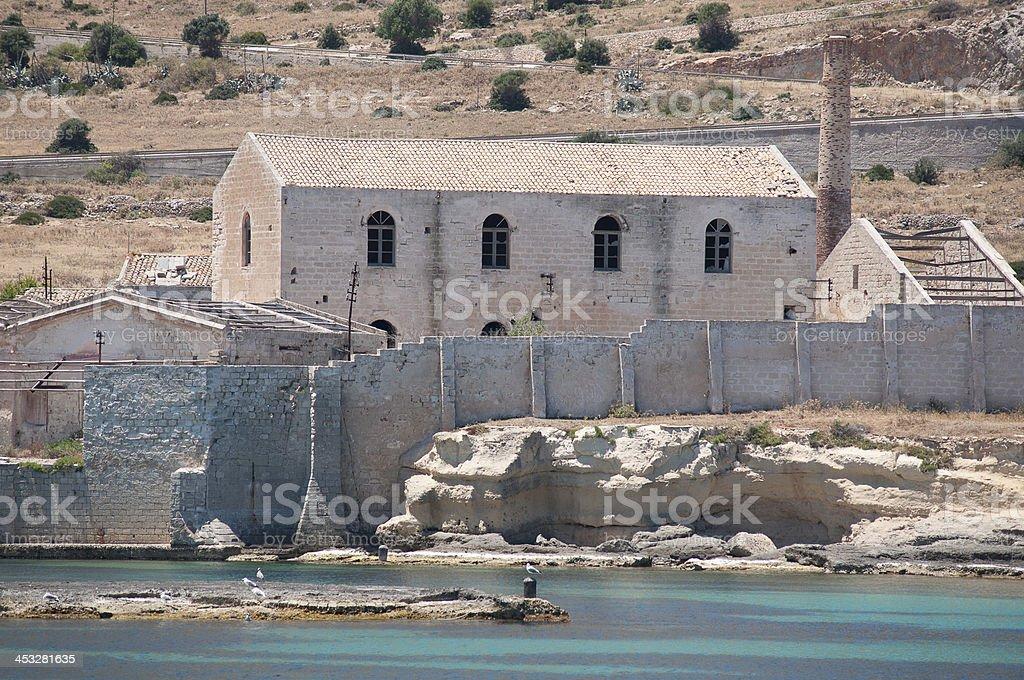 Favignana, in Sicily, Ancient Tonnara stock photo
