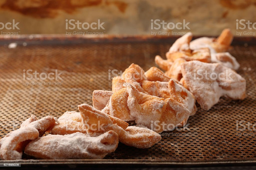 Faworki, traditional Polish cookies on Fat Thursday stock photo