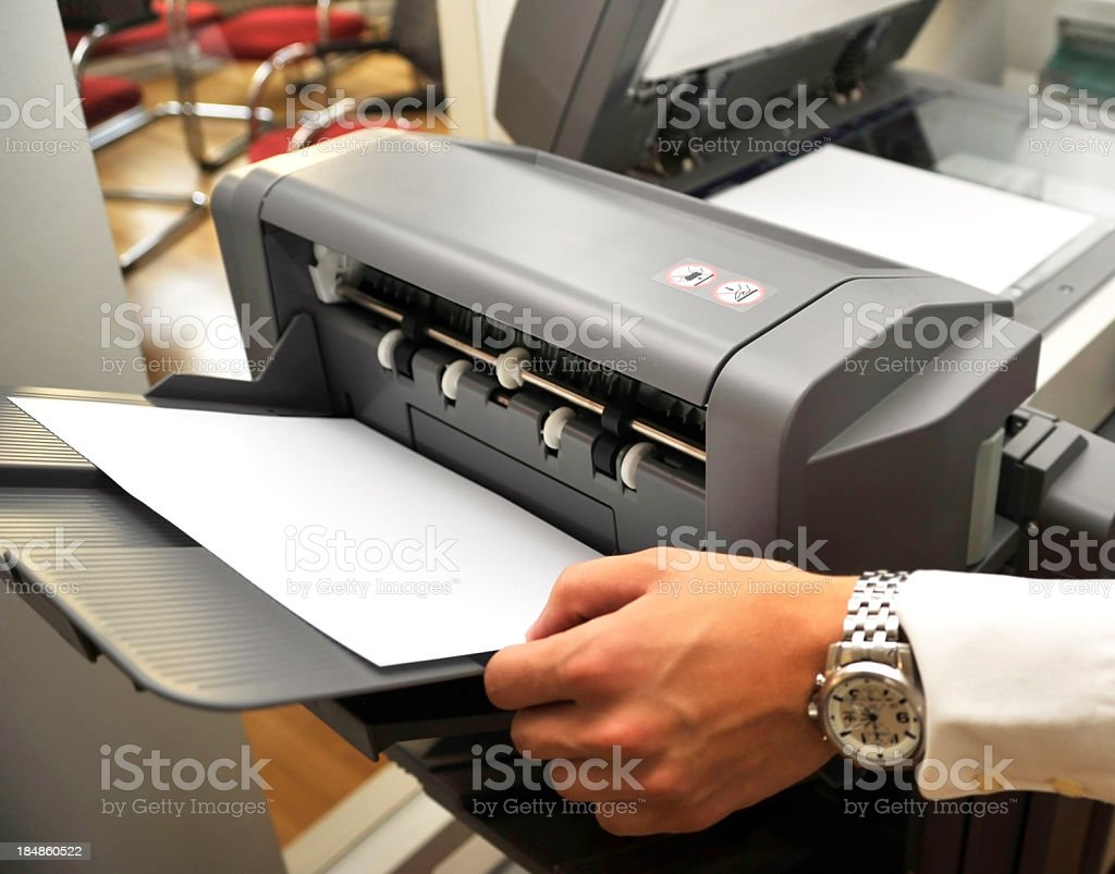 fax copier with copyspace on paper sheet royalty-free stock photo