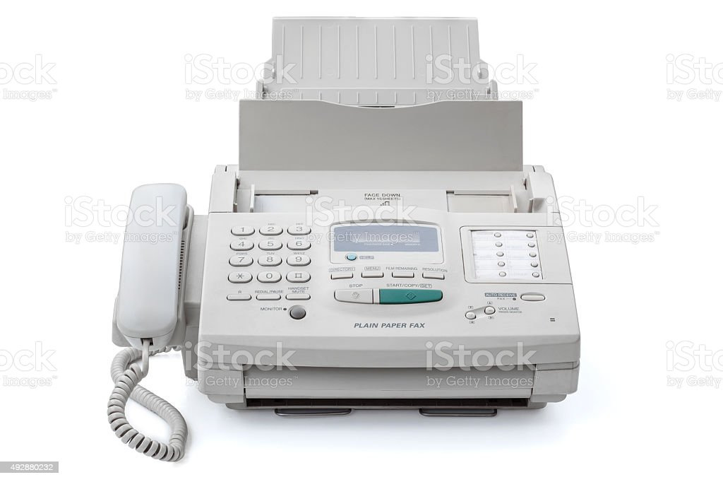 Fax machine stock photo