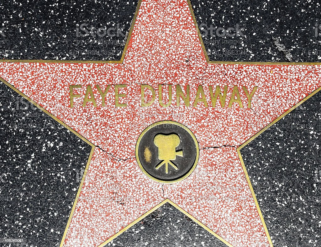 Fay Dunaways star on Hollywood Walk of Fame stock photo