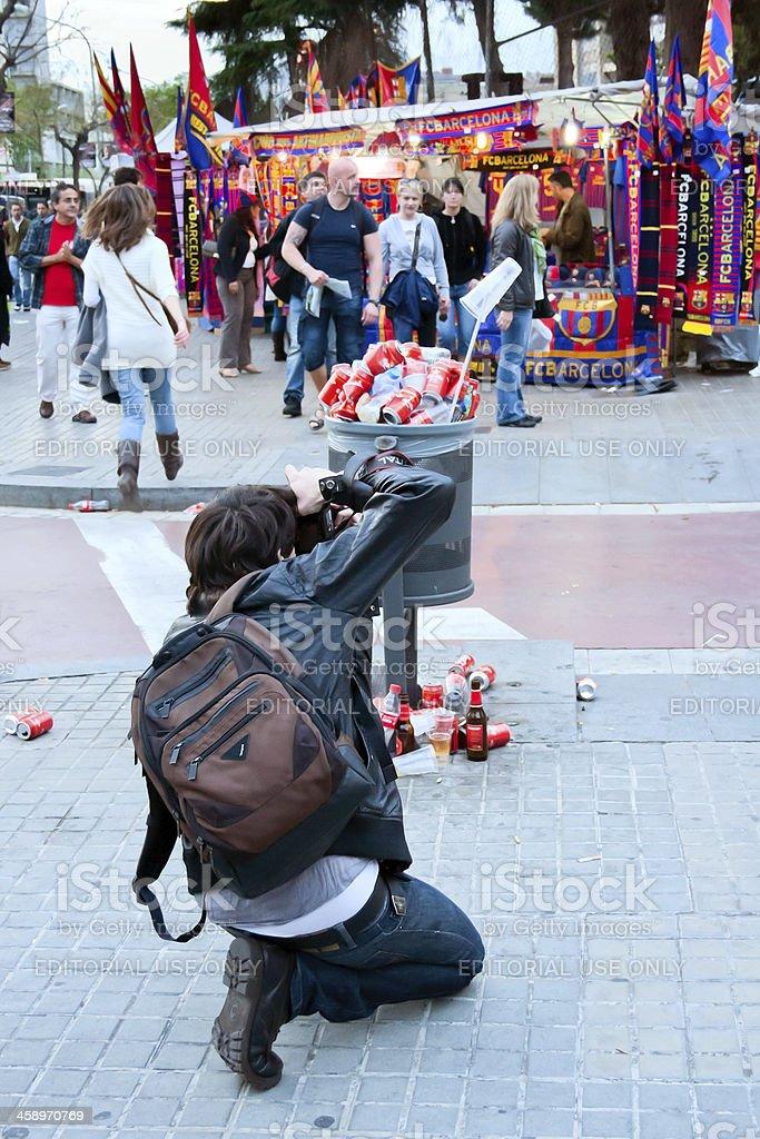 fc barcelona, photographer of garbige stock photo