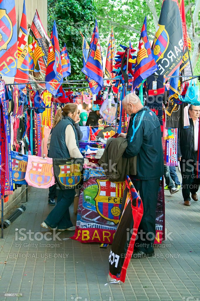 fc barcelona shop stock photo