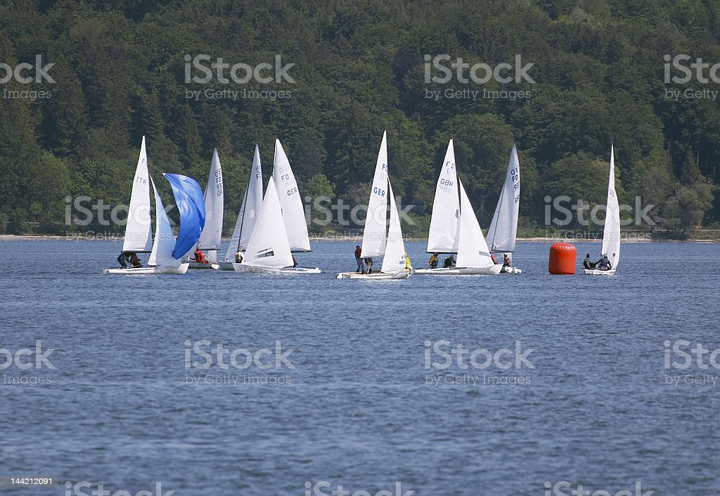 FD-regatta sailing, second turning point royalty-free stock photo