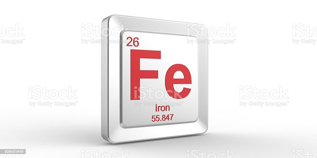 Fe symbol 26 material for Iron chemical element stock photo