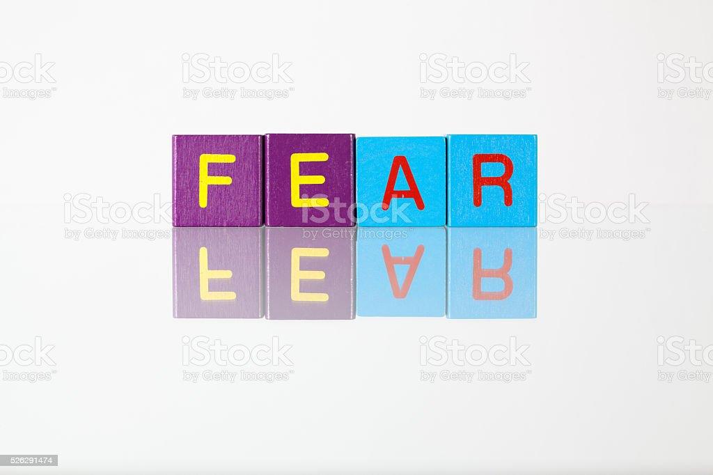 Fear - an inscription from children's blocks stock photo