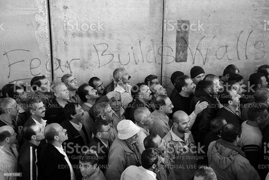 Fear Builds Walls graffiti at wall in Bethlehem, Palestine stock photo