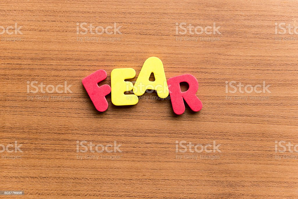 fear colorful word stock photo