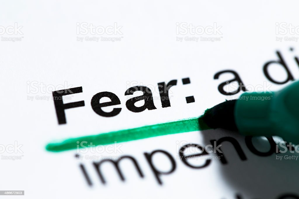 'Fear' Definition underlined royalty-free stock photo