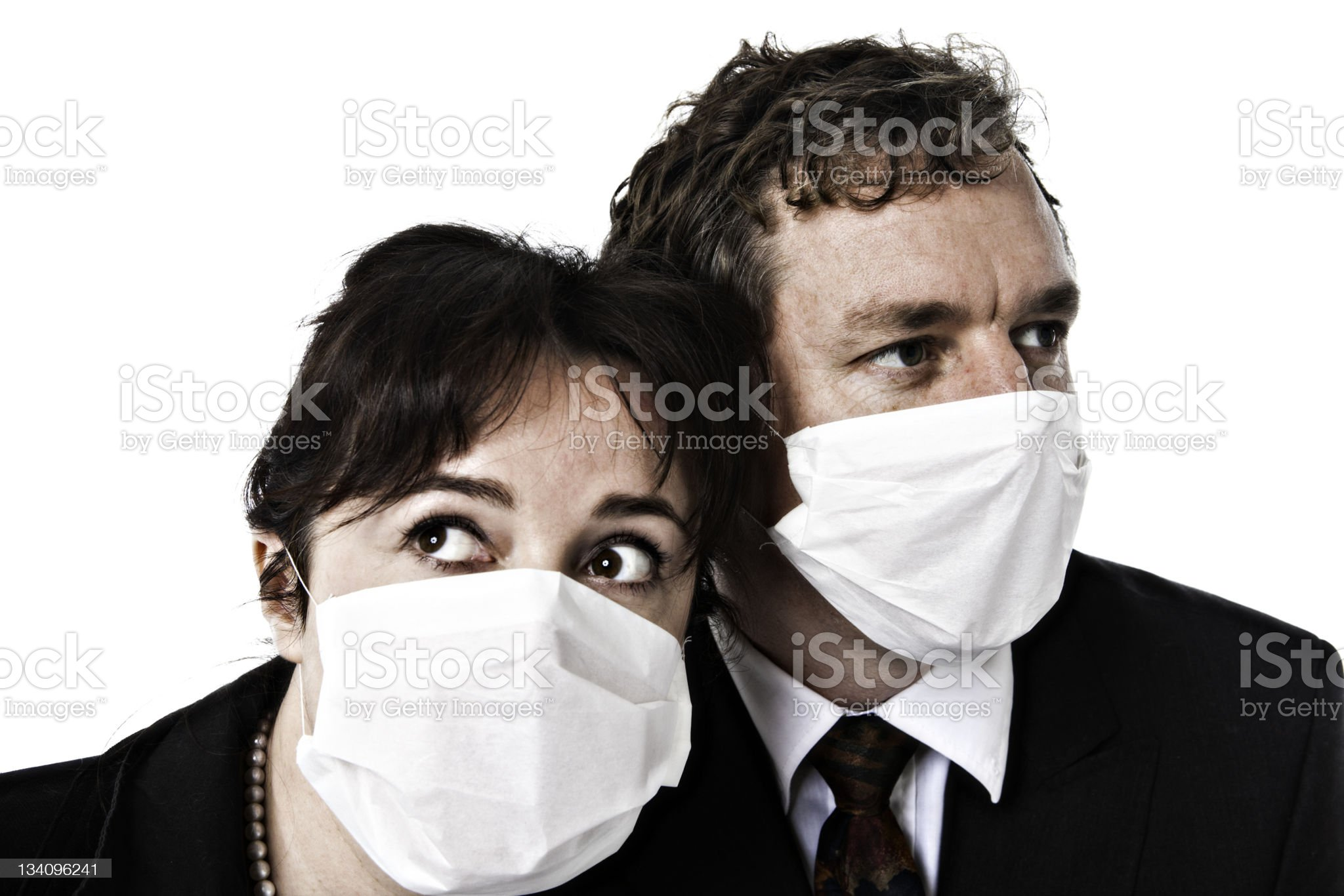 Fear of contagion: Masked business couple royalty-free stock photo