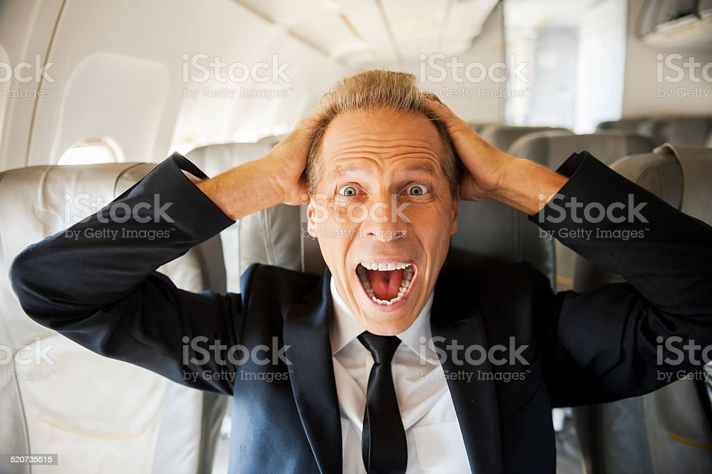 Fear of flight. stock photo