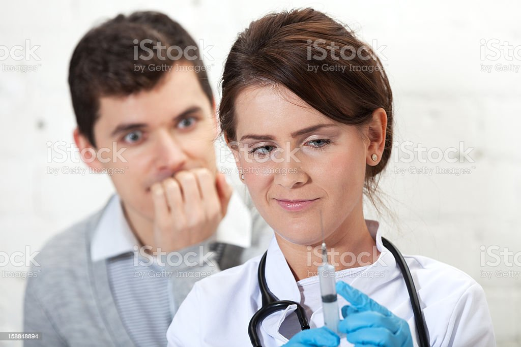 Fear of injection royalty-free stock photo