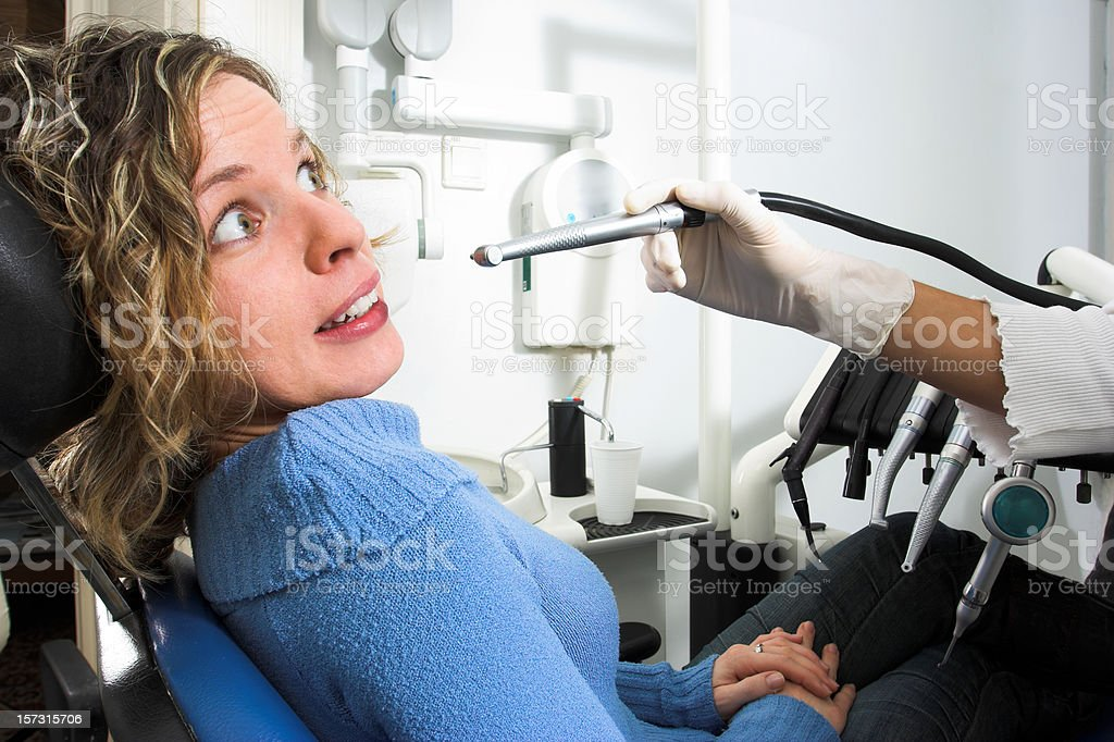 Fear of the dentist royalty-free stock photo