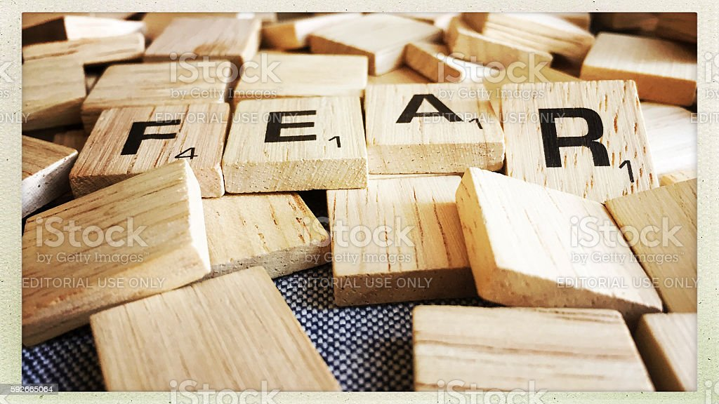 Fear Spelled with Scrabble Tiles stock photo