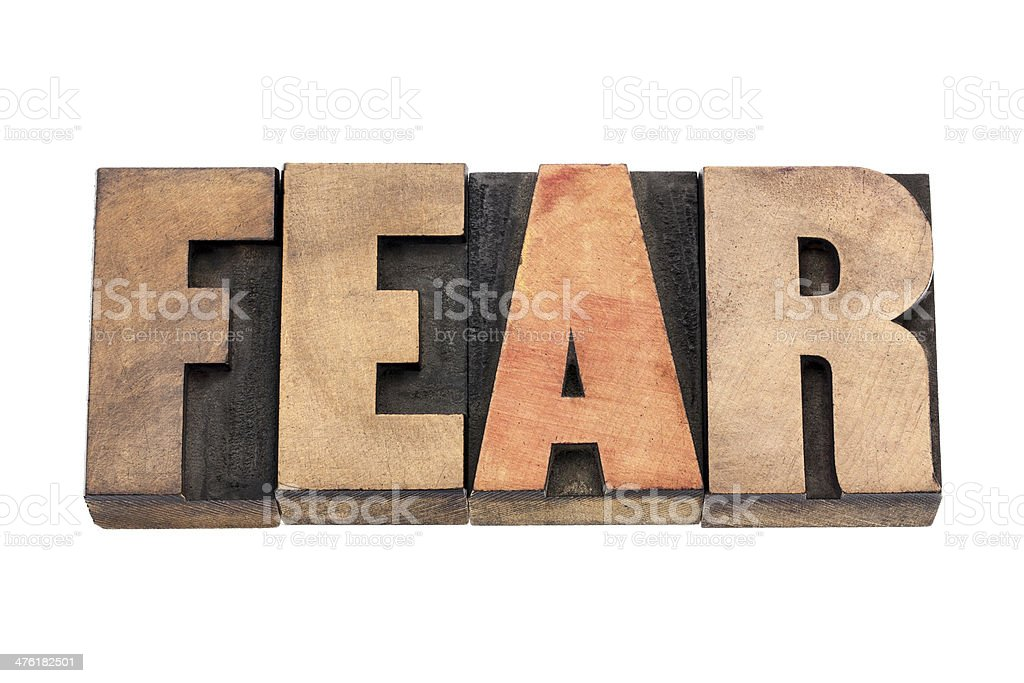 fear word in wood type stock photo