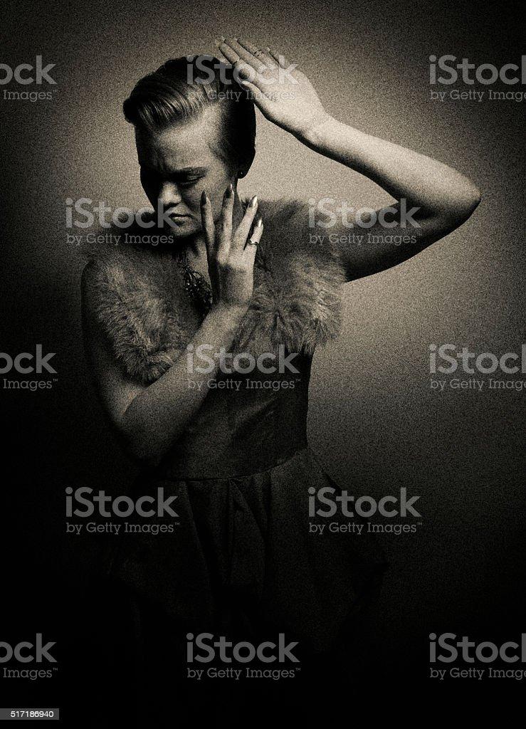 Fearful Woman Alone In The Dark stock photo