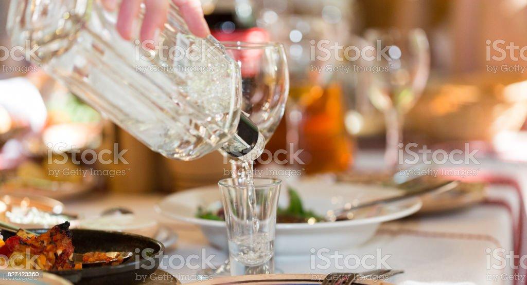 Feast in a restaurant closeup stock photo