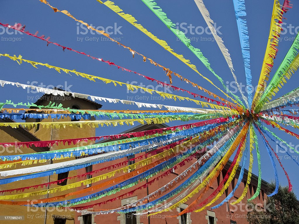 Feast in the village, Olot, Spain. stock photo