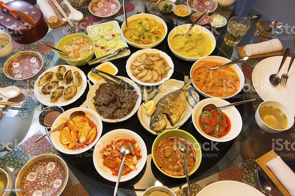 Feast of Asian Food Dishes stock photo
