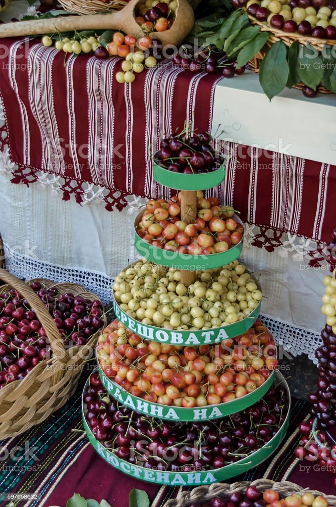 Feast of cherry fruit in the Kyustendil stock photo
