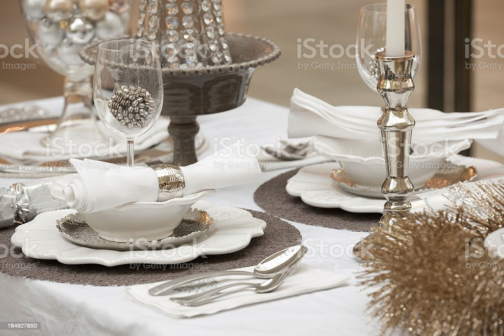 Feastful nobel decorated Dining Table royalty-free stock photo