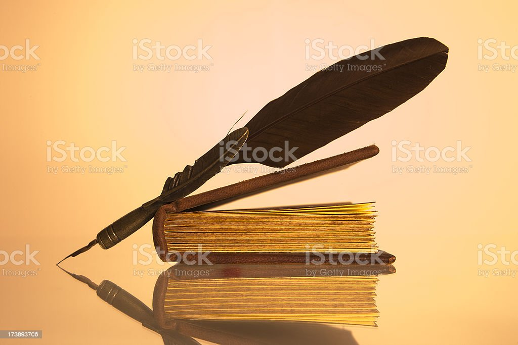 Feather and Book royalty-free stock photo