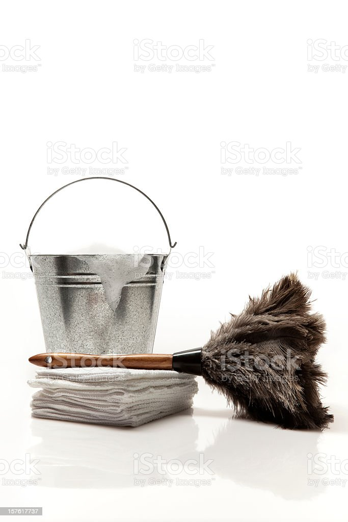 Feather duster with busker and towels stock photo