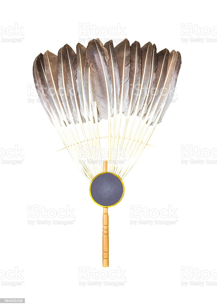 Feather fan isolated stock photo