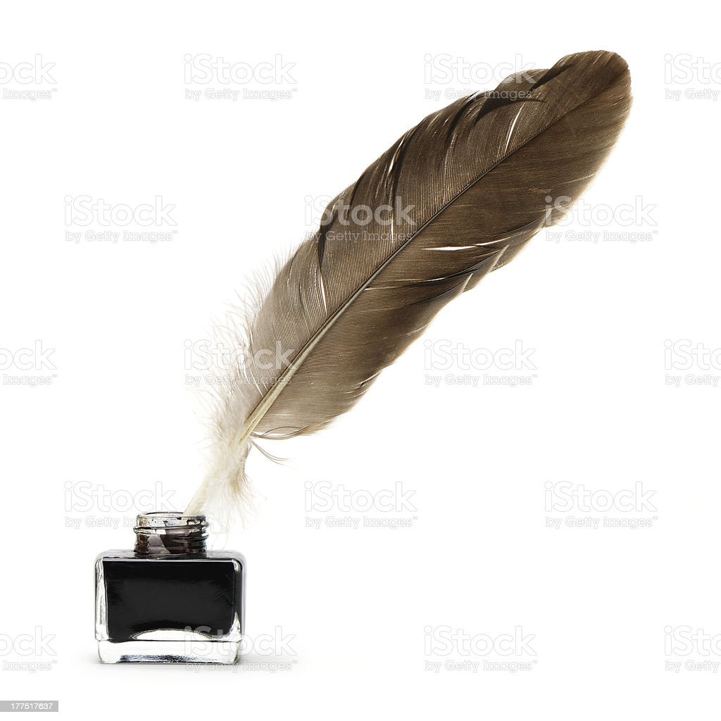 Feather pen into the inkwell. stock photo