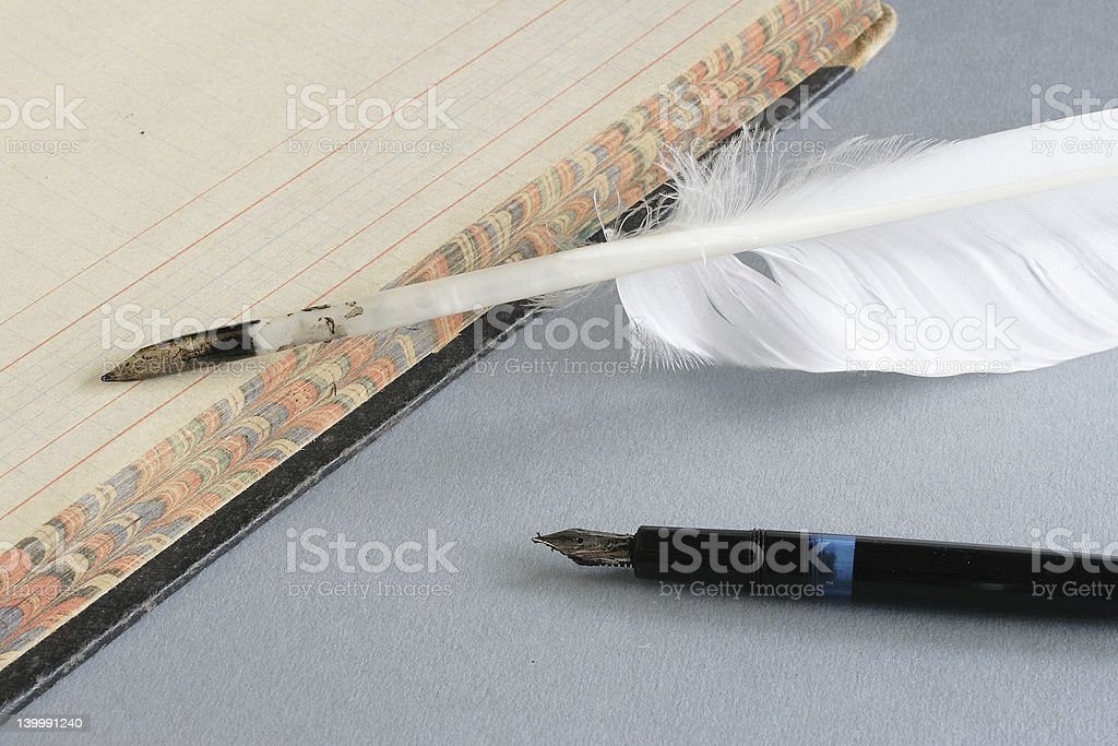 Feather Quill and Pen royalty-free stock photo