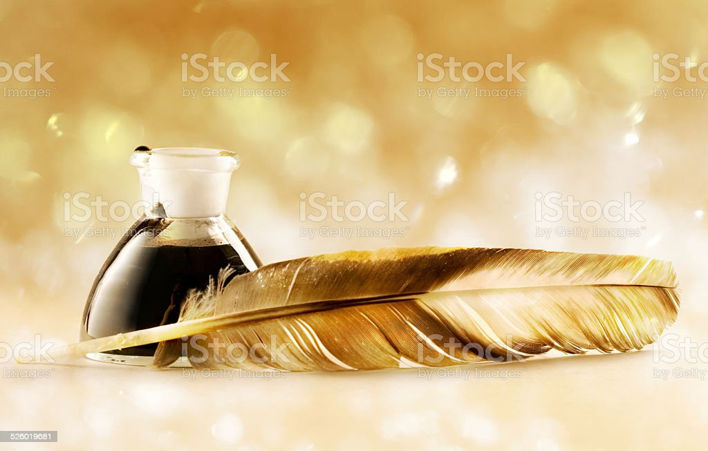 Feather quill stock photo