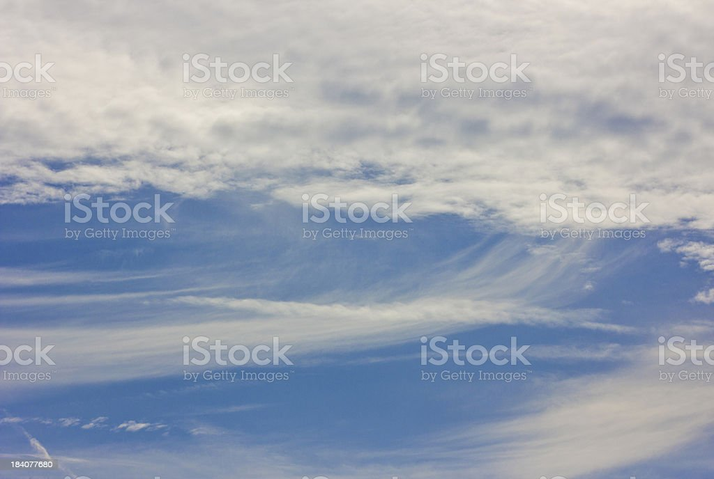 Feathered clouds in a blue sky. royalty-free stock photo