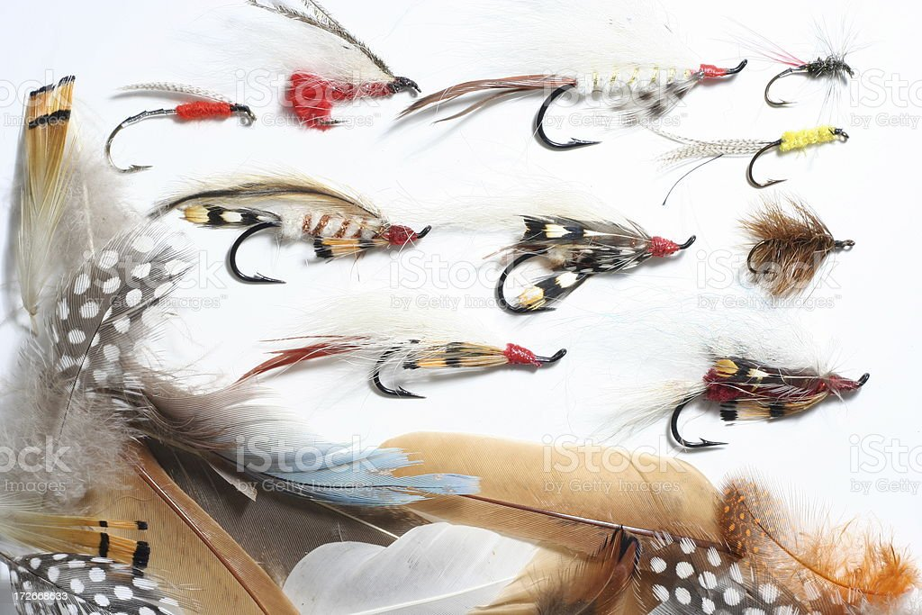 Feathers and Fishing Flies royalty-free stock photo