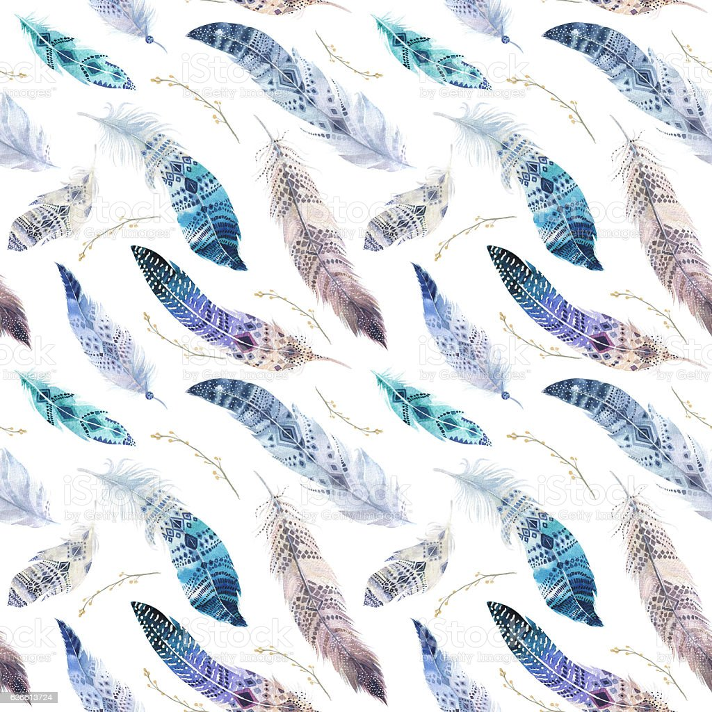 Feathers pattern. Watercolor elegant background. Watercolour bird. stock photo